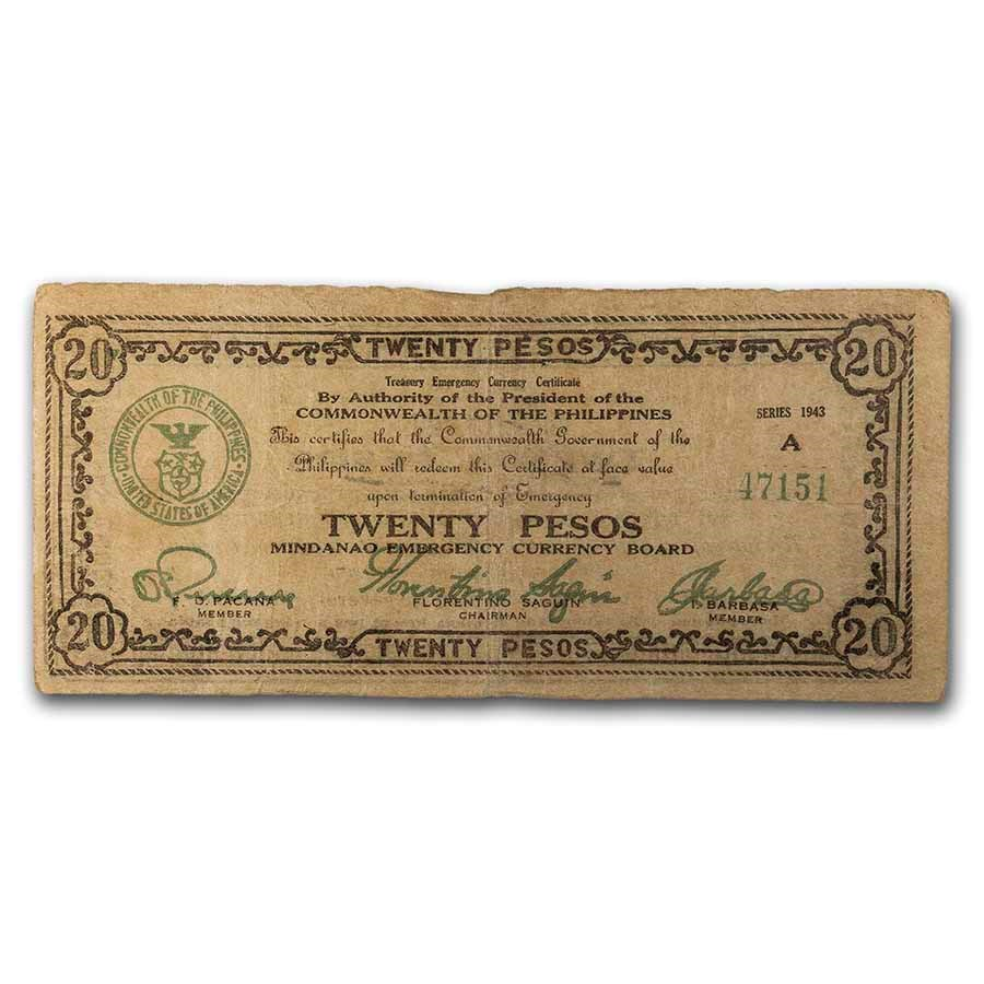 1943 Philippines Guerilla Currency 20 Pesos Note VF