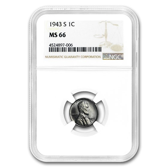 1943-S Lincoln Cent MS-66 NGC