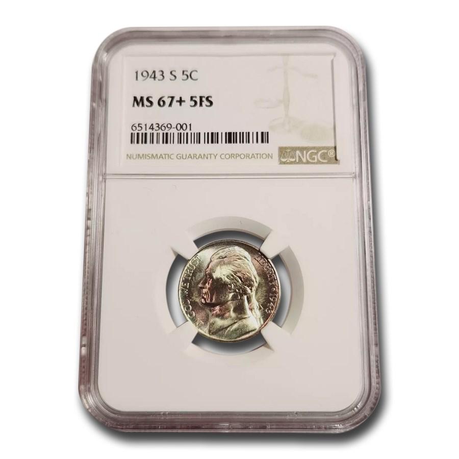 1943-S Silver Jefferson Nickel MS-67+ NGC (FS)