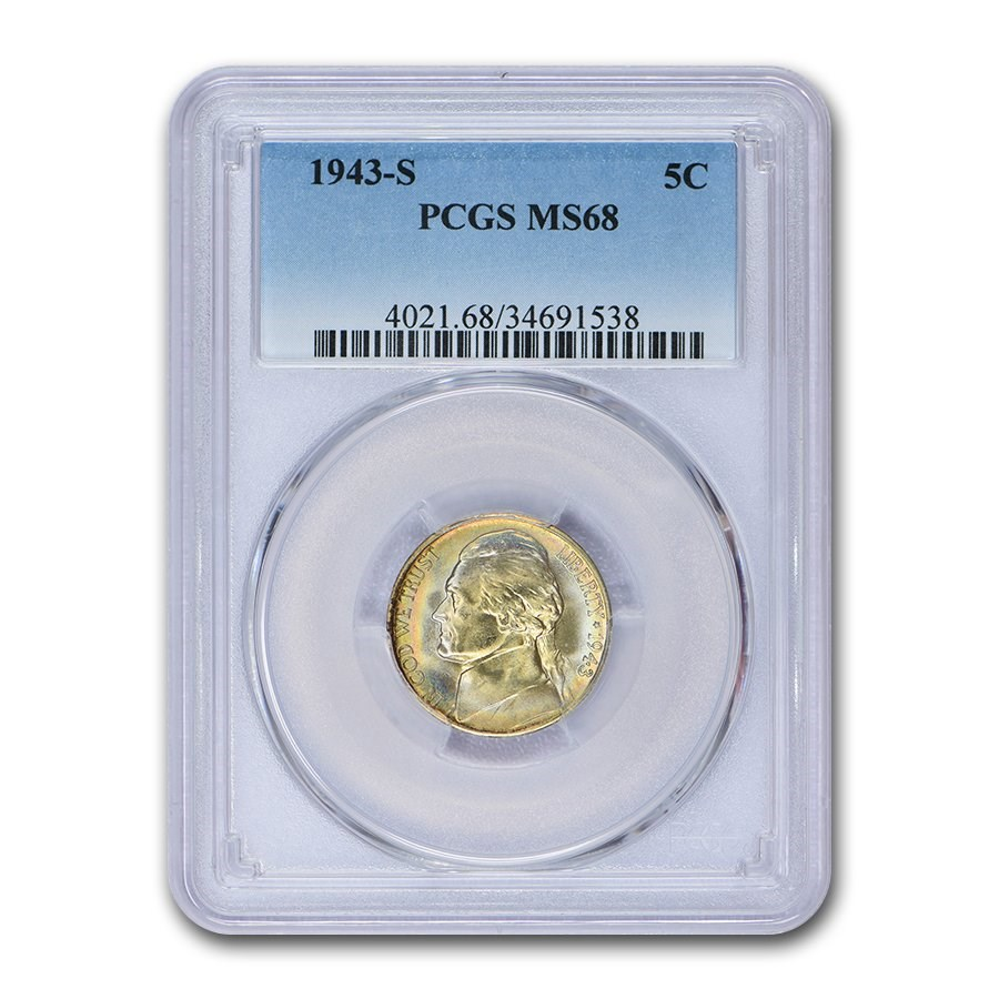 1943-S Silver Jefferson Nickel MS-68 PCGS