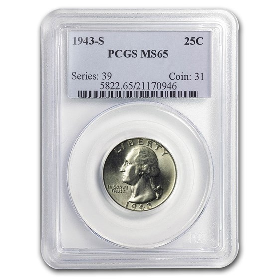 1943-S Washington Quarter MS-65 PCGS