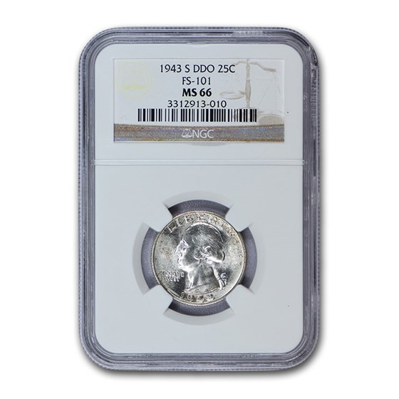 1943-S Washington Quarter MS-66 NGC (DDO, FS-101)