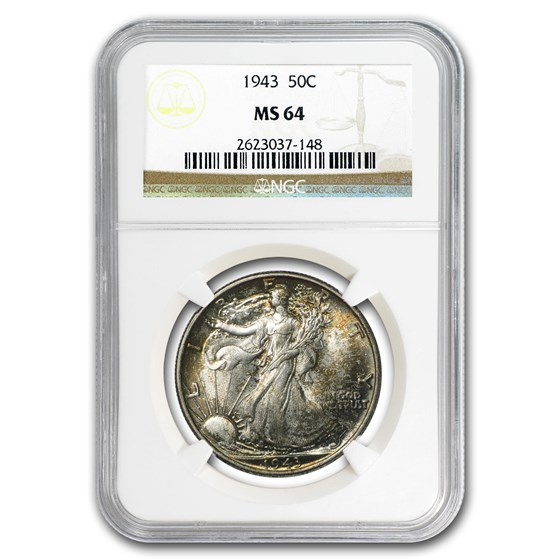 1943 Walking Liberty Half Dollar MS-64 NGC