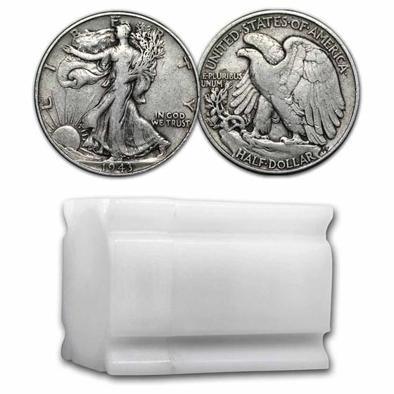 1943 Walking Liberty Halves 20-Coin Roll Avg Circ