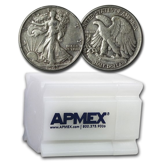 1943 Walking Liberty Halves 20-Coin Roll XF