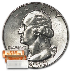 1943 Washington Quarter 40-Coin Roll BU