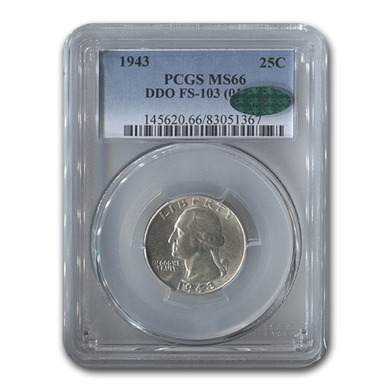 1943 Washington Quarter MS-66 PCGS (DDO, FS-103)