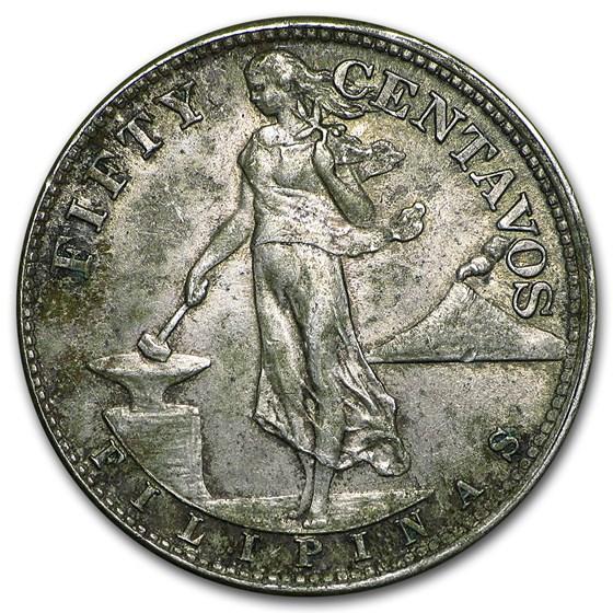 1944-45 Philippines Silver 50 Centavos AU/BU