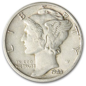1944-D Mercury Dime AU