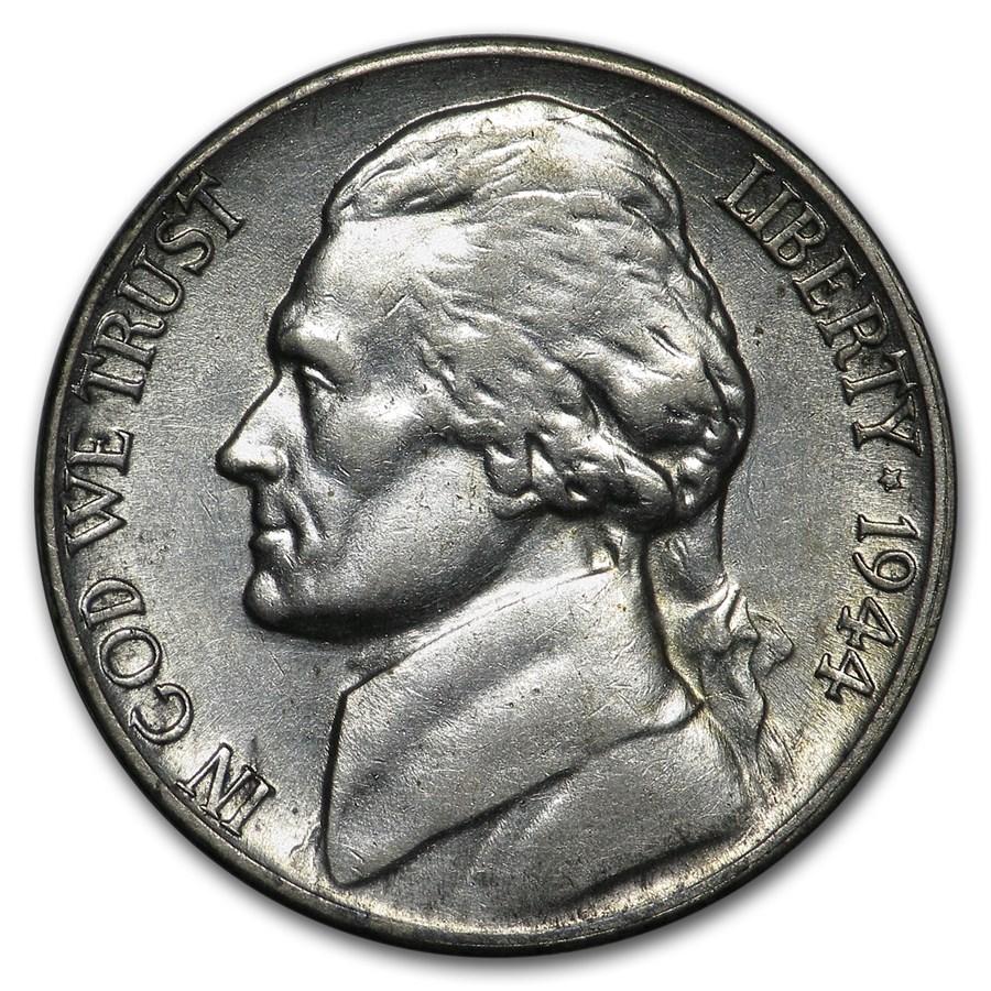 1944-D Silver Wartime Jefferson Nickel AU
