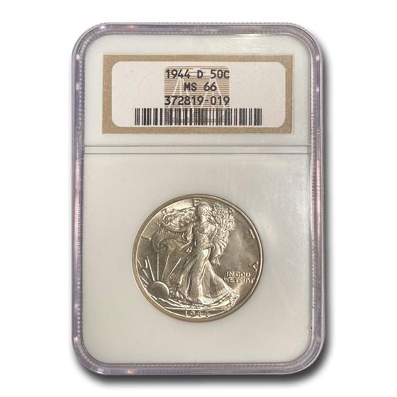 1944-D Walking Liberty Half Dollar MS-66 NGC