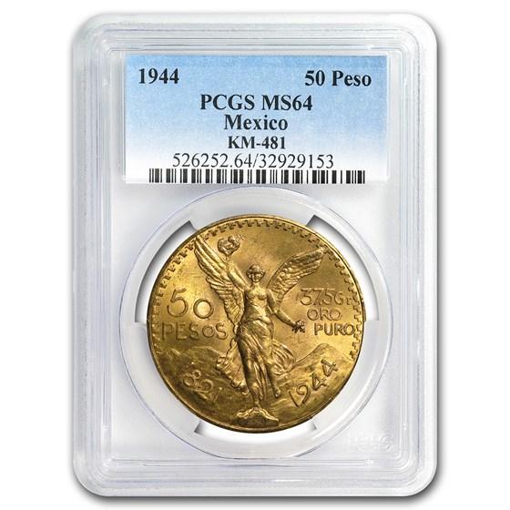 1944 Mexico Gold 50 Pesos MS-64 PCGS