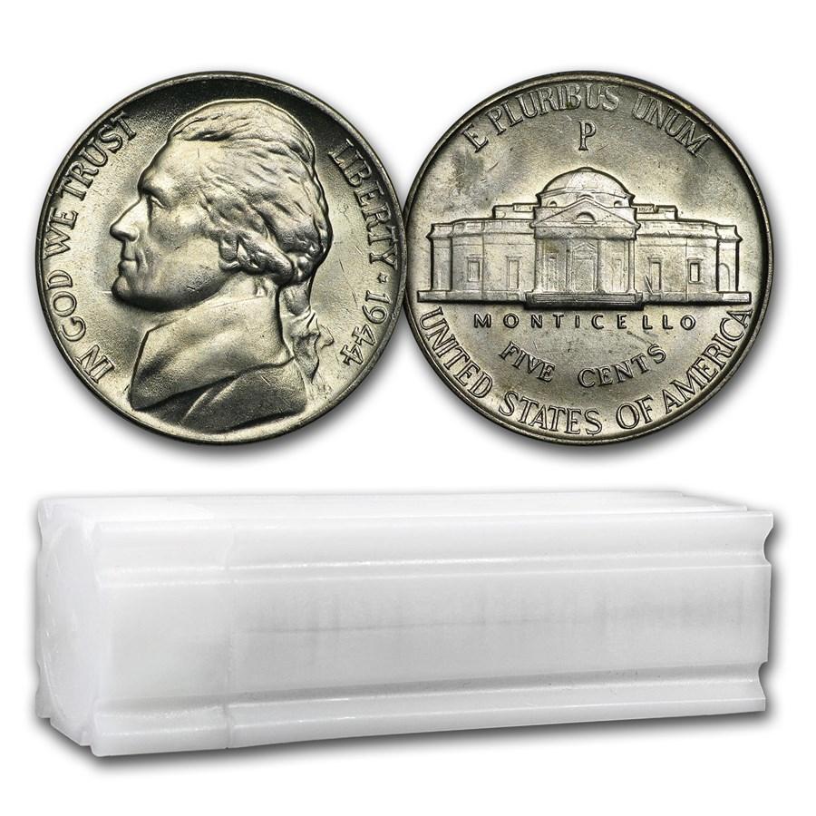 1944-P 35% Silver Wartime Jefferson Nickel Roll BU (40 ct)