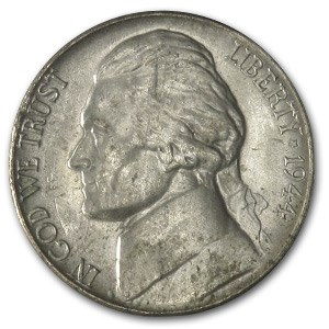 1944-P Silver Wartime Jefferson Nickel AU