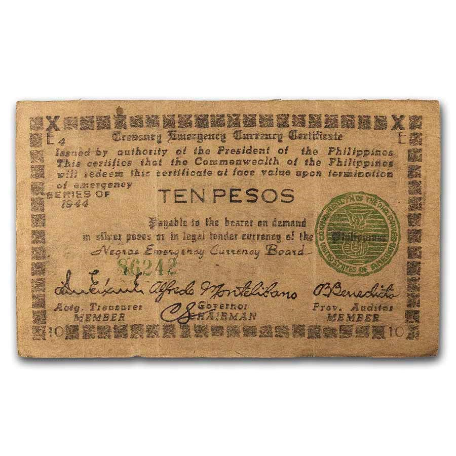 1944 Philippines Guerilla Currency 10 Pesos Note VF