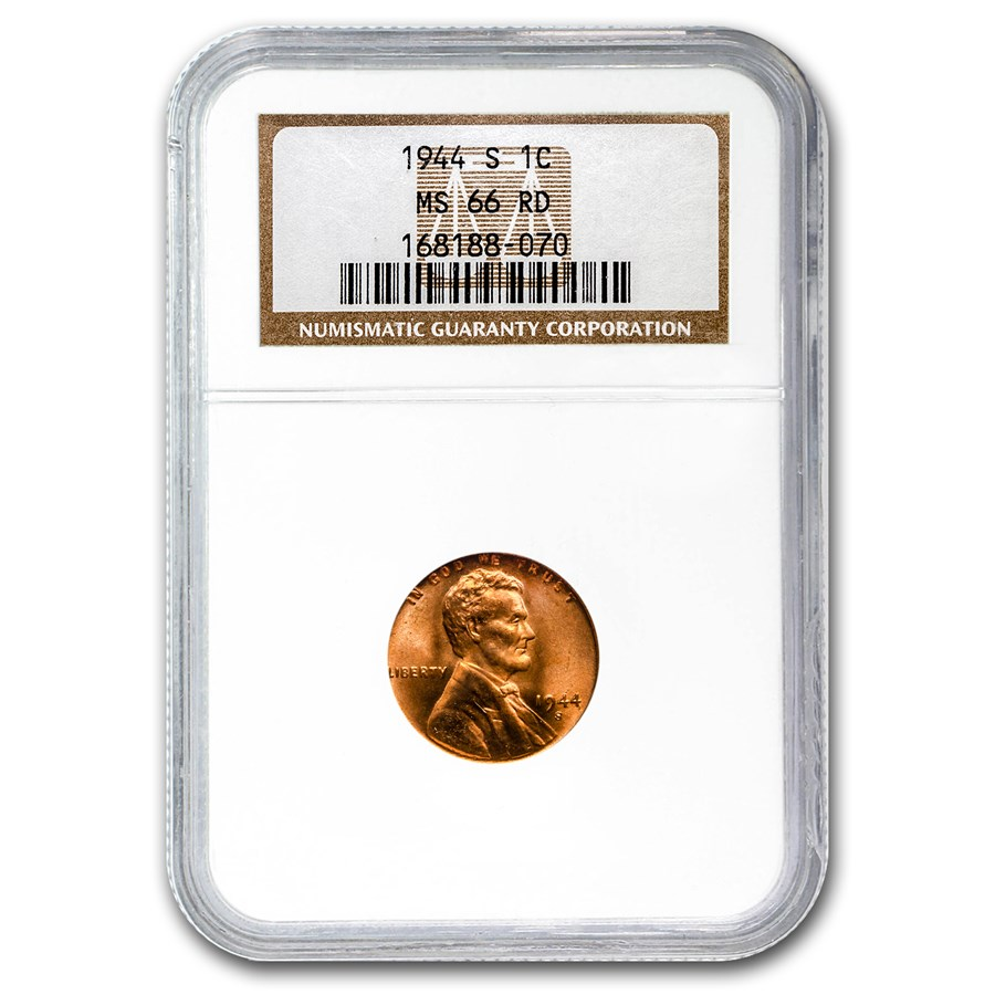 1944-S Lincoln Cent MS-66 NGC (Red)