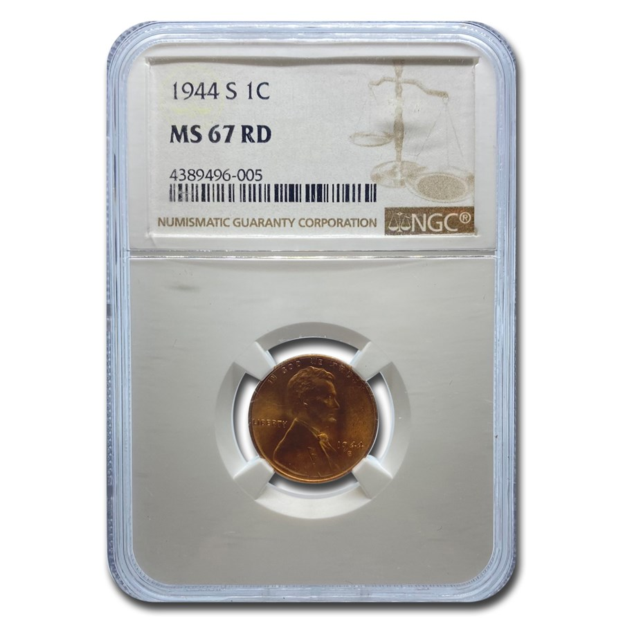 1944-S Lincoln Cent MS-67 NGC (Red)