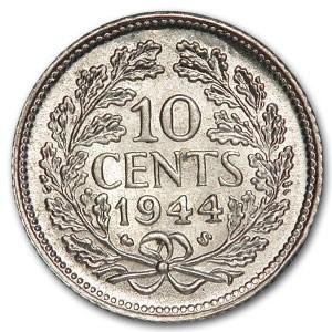 1944-S Netherlands Silver 10 Cents Wilhelmina AU