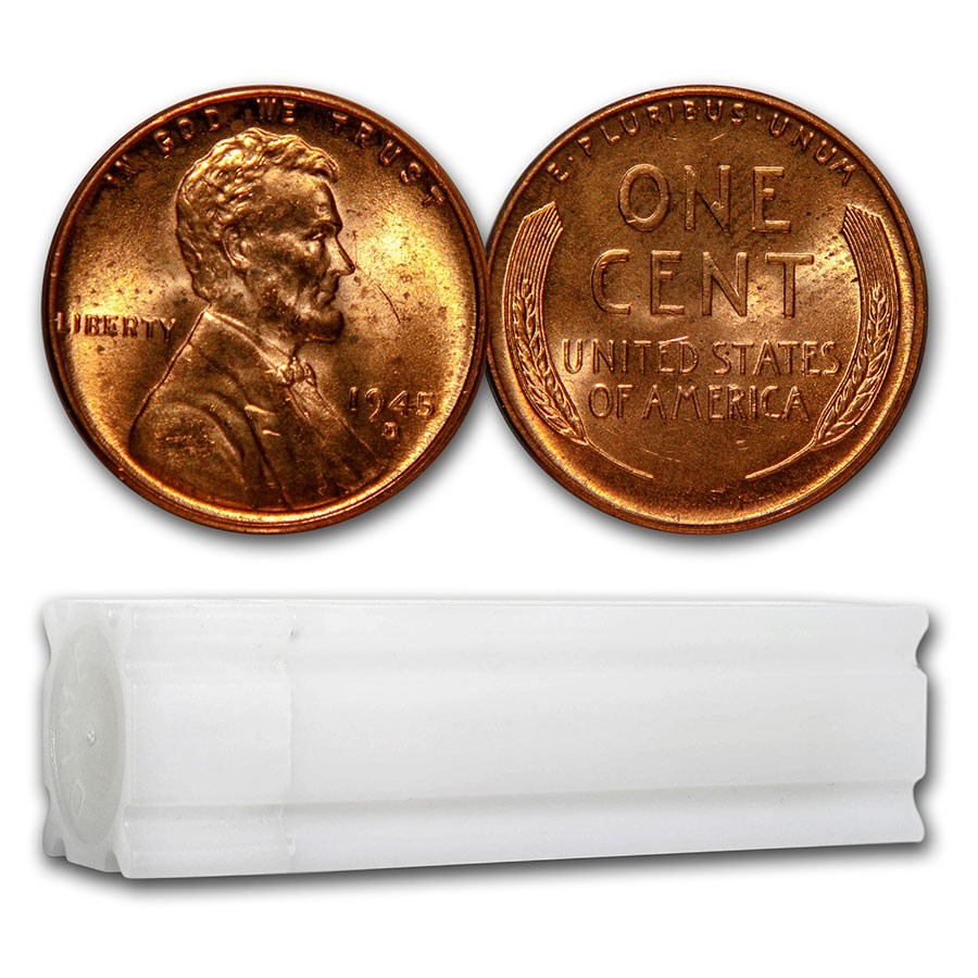 1945-D Lincoln Cent 50-Coin Roll BU