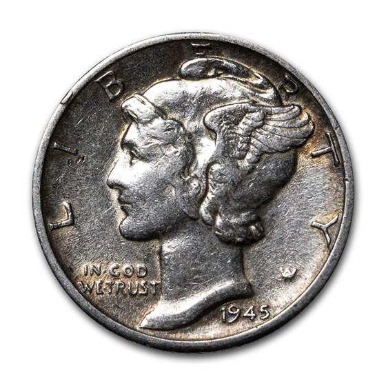 1945-D Mercury Dime XF