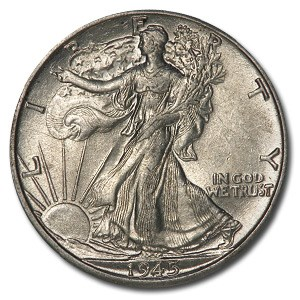 1945-D Walking Liberty Half Dollar AU
