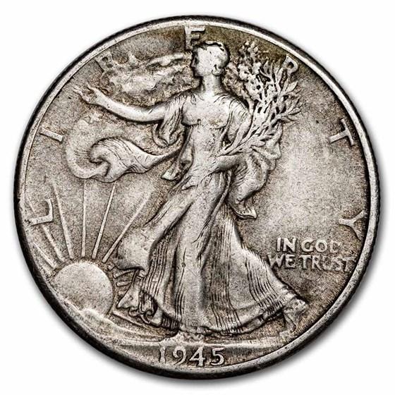 1945-D Walking Liberty Half Dollar Fine/VF