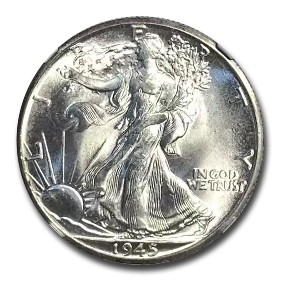 1945-D Walking Liberty Half Dollar MS-65+ NGC