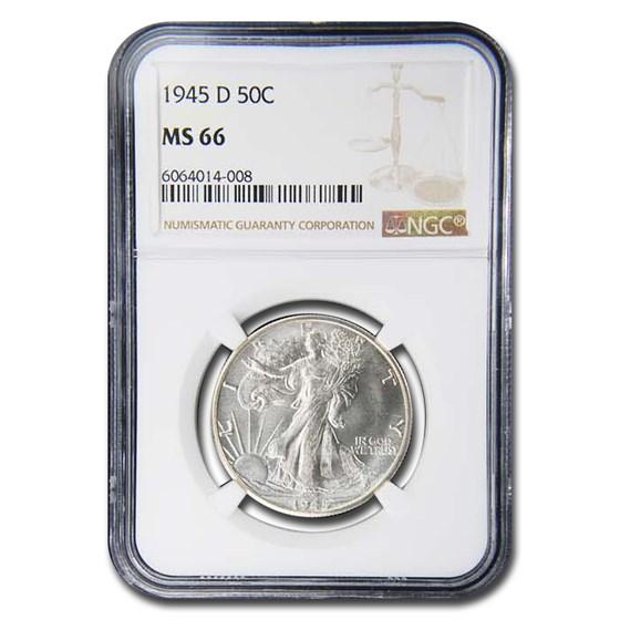 1945-D Walking Liberty Half Dollar MS-66 NGC