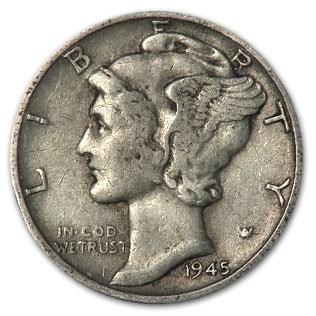 1945 Mercury Dime XF