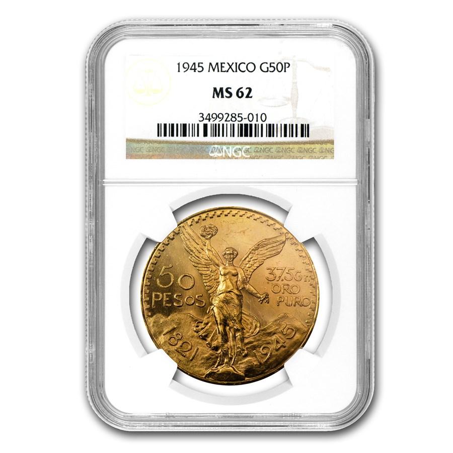 1945 Mexico Gold 50 Pesos MS-62 NGC