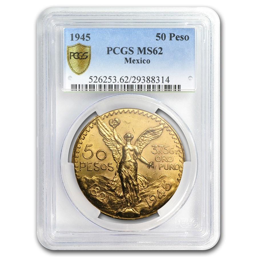 1945 Mexico Gold 50 Pesos MS-62 PCGS