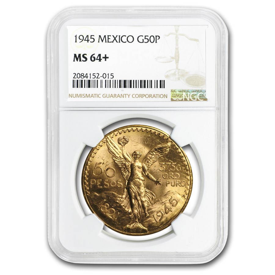 1945 Mexico Gold 50 Pesos MS-64+ NGC