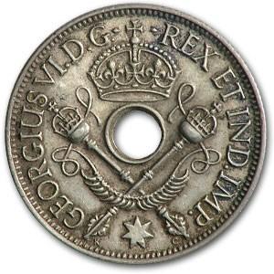 1945 New Guinea Silver Shilling George VI XF
