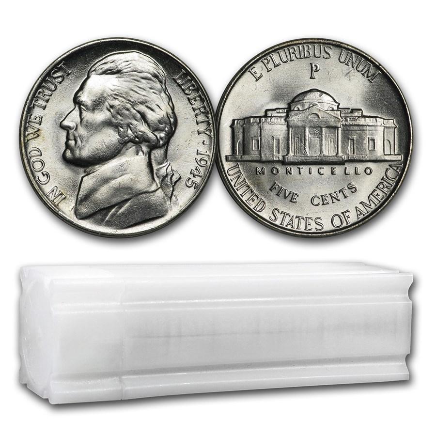 1945-P 35% Silver Wartime Jefferson Nickel Roll BU (40 ct)