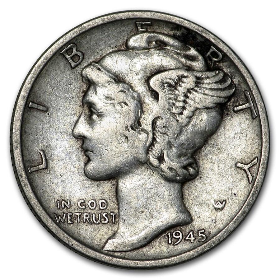 1945-S Mercury Dime Fine/VF (Micro-S)