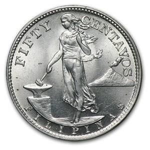 1945-S Philippines 50 Centavos BU