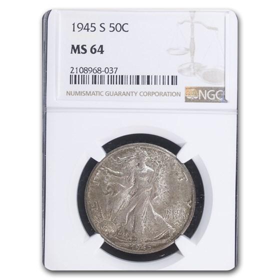 1945-S Walking Liberty Half Dollar MS-64 NGC