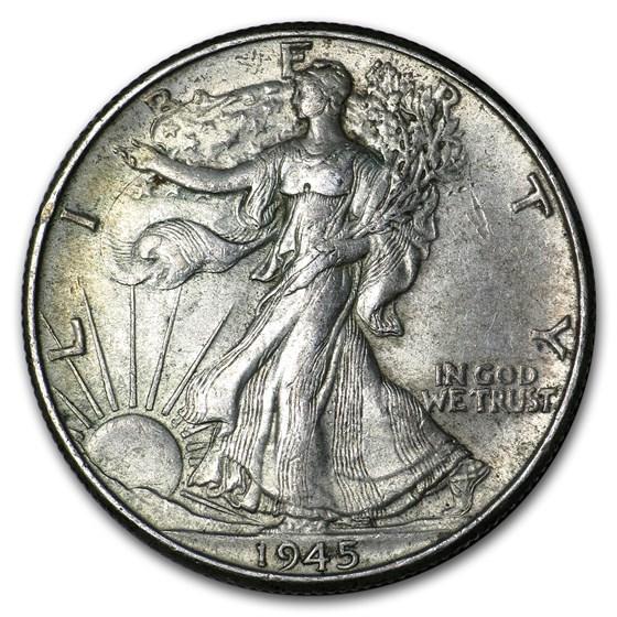 1945 Walking Liberty Half Dollar AU