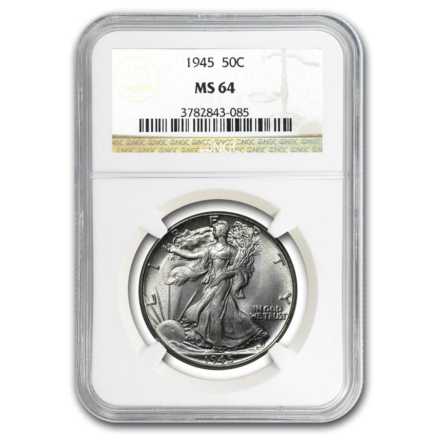 1945 Walking Liberty Half Dollar MS-64 NGC