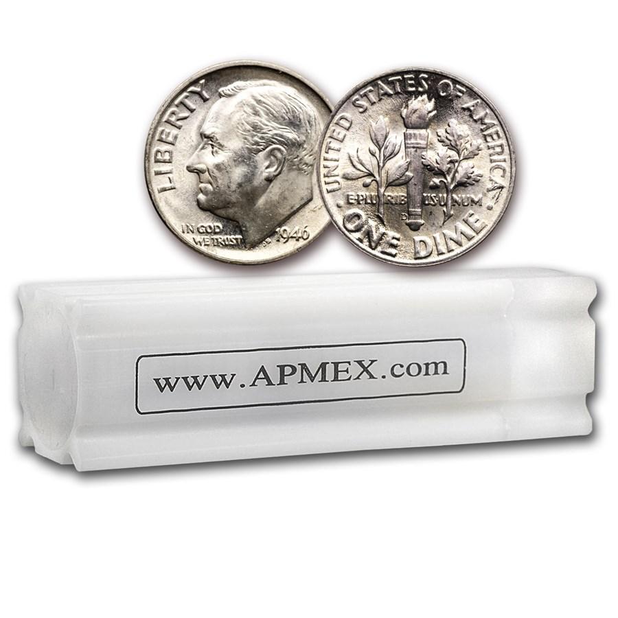 1946-D Roosevelt Dime 50-Coin Roll BU