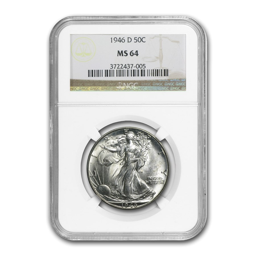 1946-D Walking Liberty Half Dollar MS-64 NGC