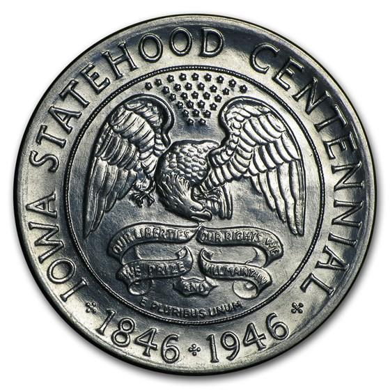 1946 Iowa Centennial Half AU Details (Cleaned)