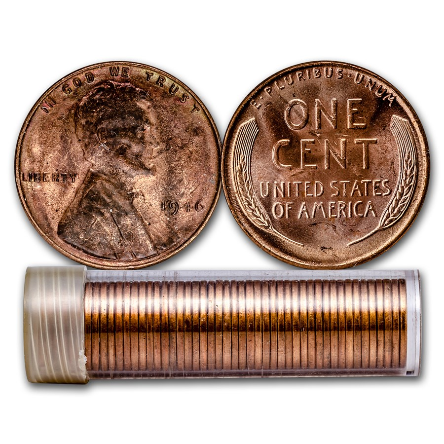 1946 Lincoln Cent 50-Coin Roll BU