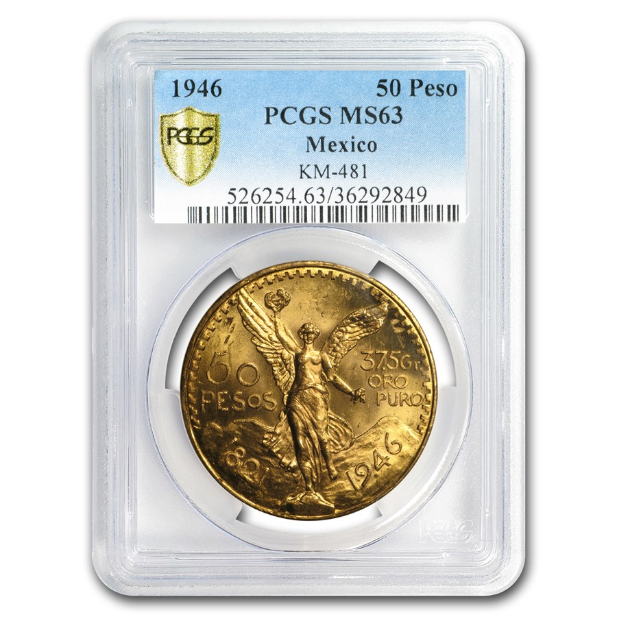 1946 Mexico Gold 50 Pesos MS-63 PCGS