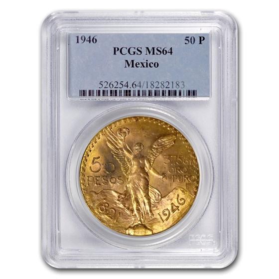 1946 Mexico Gold 50 Pesos MS-64 PCGS