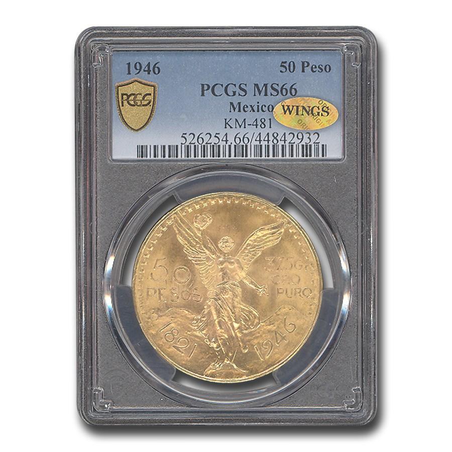 1946 Mexico Gold 50 Pesos MS-66 PCGS