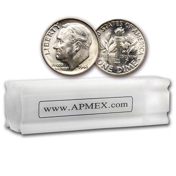 1946 Roosevelt Dime 50-Coin Roll BU