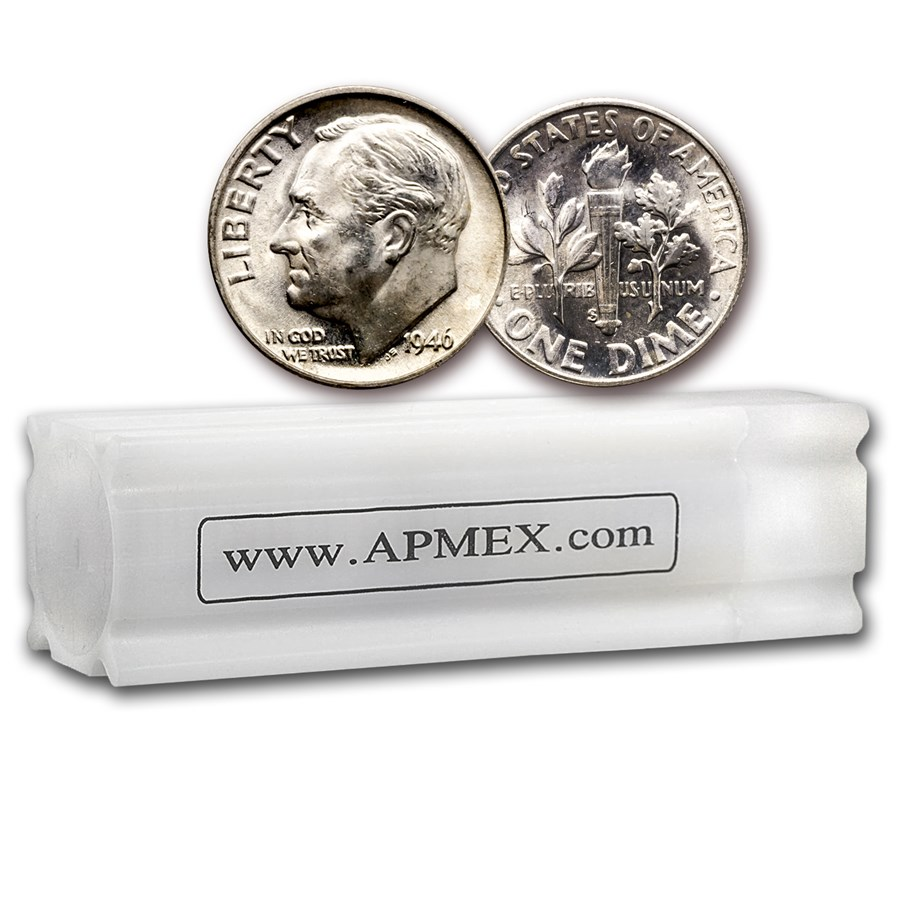 1946-S Roosevelt Dime 50-Coin Roll BU