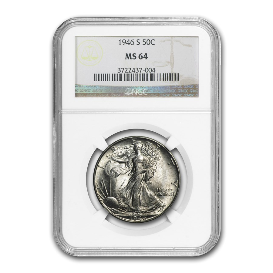 1946-S Walking Liberty Half Dollar MS-64 NGC