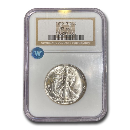 1946-S Walking Liberty Half Dollar MS-66 NGC